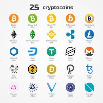 Ícones de moedas de criptomoeda isolados no branco