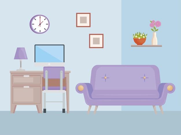 Ícones de móveis de sala de estar