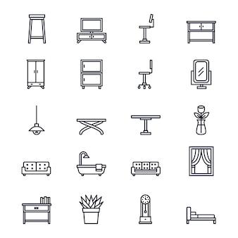 Ícones de móveis e home deco em estilo de linha.