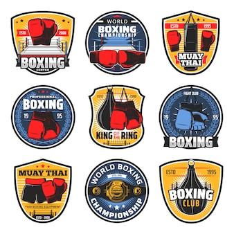 Ícones de muay thai de boxe, artes de lutador de kickboxing