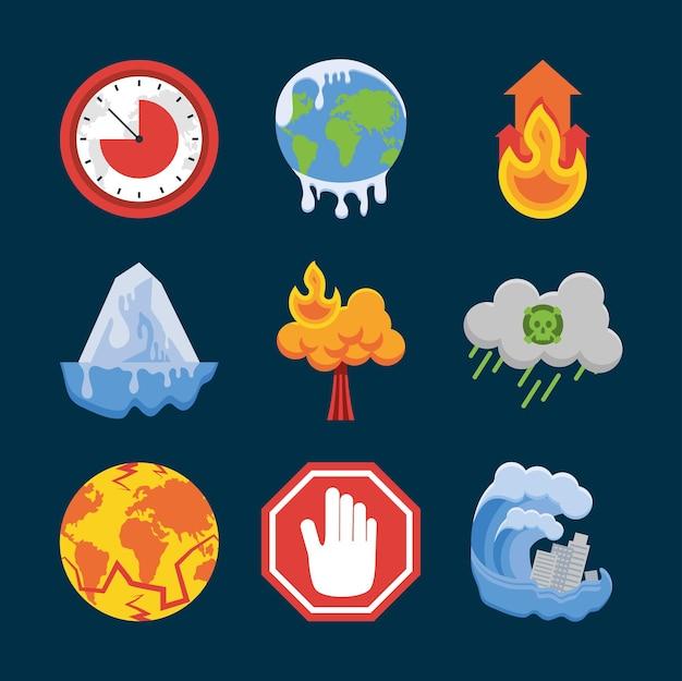 Ícones de mudança climática