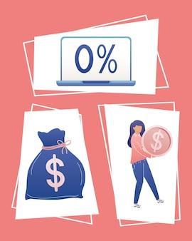 Ícones de mulher de negócios e dinheiro