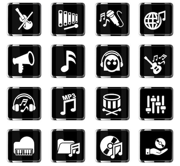Ícones de música da web para design de interface de usuário