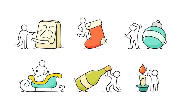 Ícones de natal dos desenhos animados conjunto de desenho trabalhando pequenas pessoas com símbolos de festa. desenhado à mão para a celebração do natal e do ano novo.