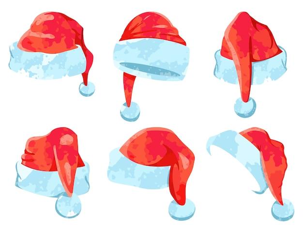 Ícones de natal dos desenhos animados de chapéu em aquarela de papai noel ajustados isolados em um fundo branco.