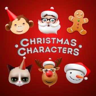 Ícones de natal, objetos, decoração de festas,
