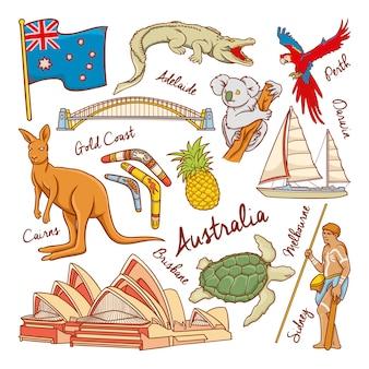 Ícones de natureza e cultura da austrália doodle conjunto ilustração vetorial