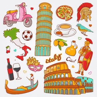 Ícones de natureza e cultura da itália doodle conjunto ilustração vetorial