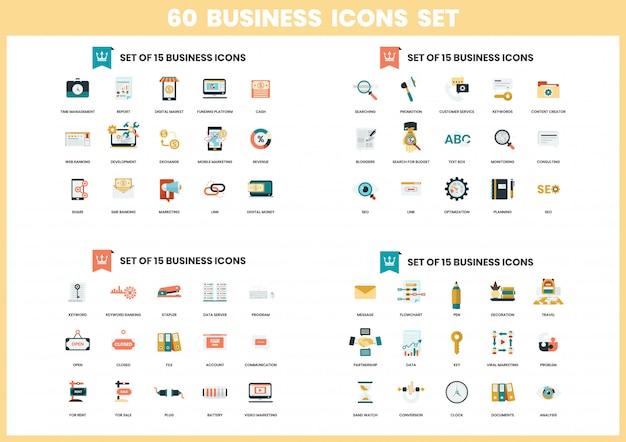 Ícones de negócios definido para negócios