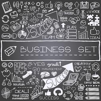 Ícones de negócios desenhados à mão com efeito de quadro-negro