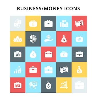 Ícones de negócios e dinheiro configurados