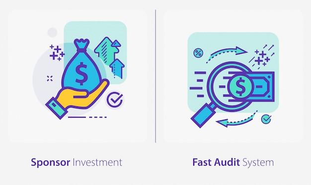 Ícones de negócios e finanças, investimento de patrocinador, sistema de auditoria rápida