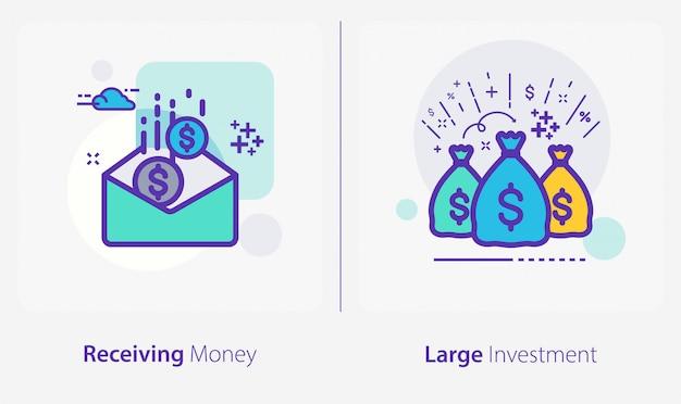 Ícones de negócios e finanças, recebendo dinheiro, grandes investimentos