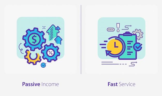 Ícones de negócios e finanças, renda passiva, serviço rápido