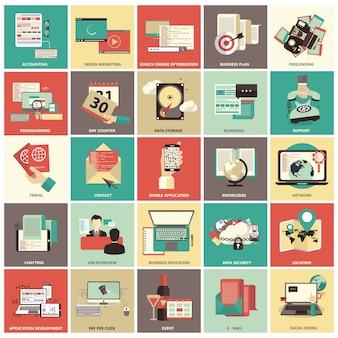 Ícones de negócios e gerenciamento