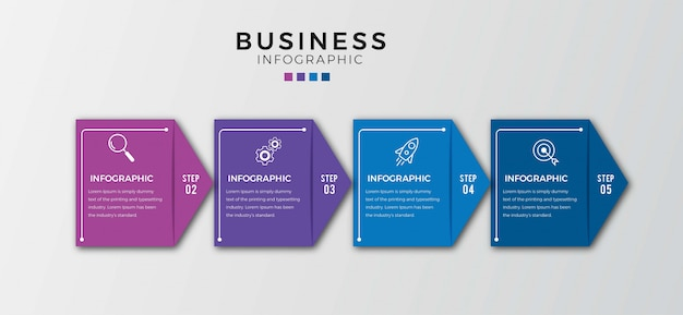 Ícones de negócios infográfico quatro opções ou etapas