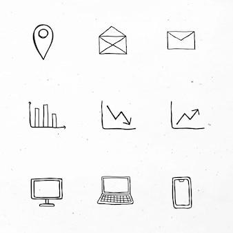 Ícones de negócios pretos com conjunto de arte de doodle