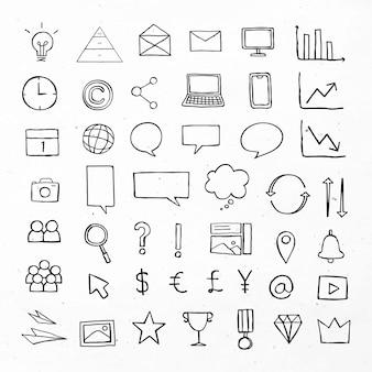 Ícones de negócios pretos com conjunto de design de arte de doodle