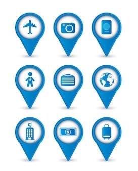 Ícones de negócios viagens isolados sobre o vetor de fundo branco