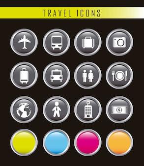 Ícones de negócios viagens isolados sobre o vetor de fundo preto