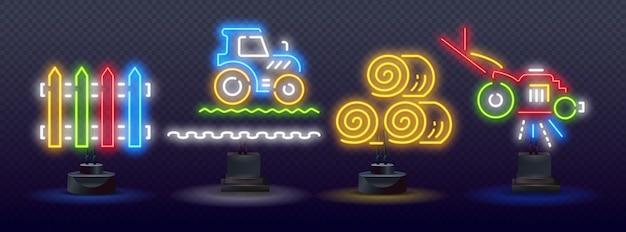 Ícones de néon de agricultura, brilho de néon de vetor em fundo escuro