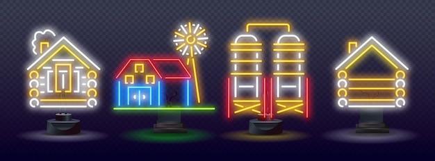 Ícones de néon de agricultura, fazendas luminosas de néon de vetor