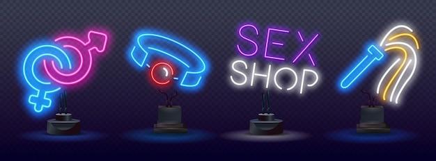 Ícones de néon de brinquedos sexuais