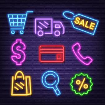 Ícones de néon de compras