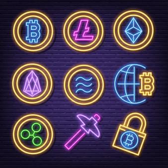 Ícones de néon de criptomoeda
