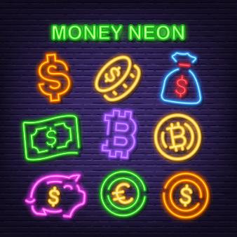 Ícones de néon de dinheiro