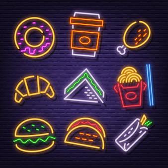 Ícones de néon de fast-food