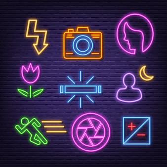 Ícones de néon de fotografia