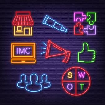 Ícones de néon de marketing