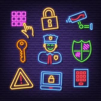 Ícones de néon de segurança