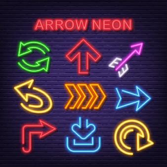 Ícones de néon de seta
