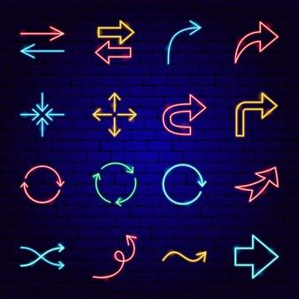 Ícones de néon de sinais de seta. ilustração em vetor de promoção de direção.