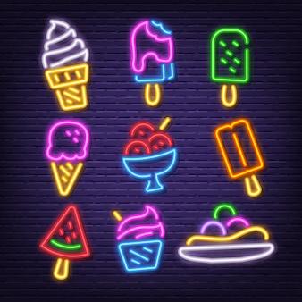 Ícones de néon de sorvete