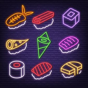 Ícones de néon de sushi