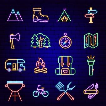 Ícones de néon do acampamento de verão. ilustração em vetor de promoção ao ar livre.