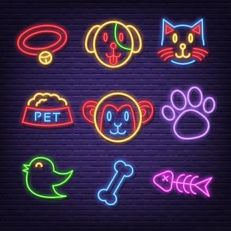Ícones de néon do animal de estimação