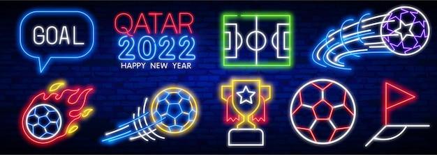 Ícones de néon do qatar futebol clube néon sinal luminoso letreiro luminoso bandeira futebol logo emblema e lab ...