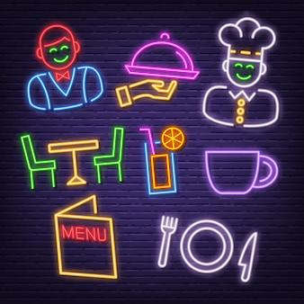 Ícones de néon do restaurante