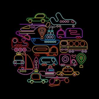 Ícones de néon redondo de transporte