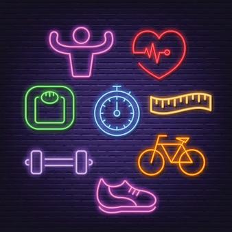 Ícones de néon saudável