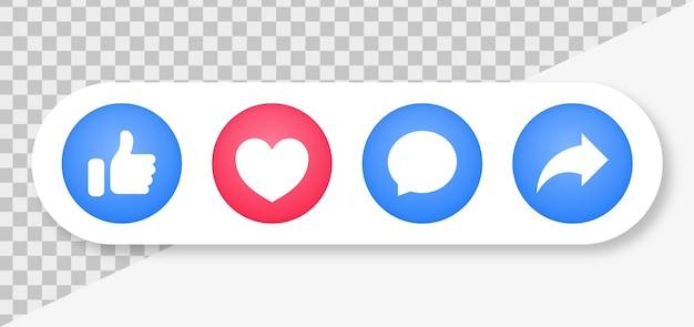 Ícones de notificação de mídia social, botões de compartilhamento como comentários de amor