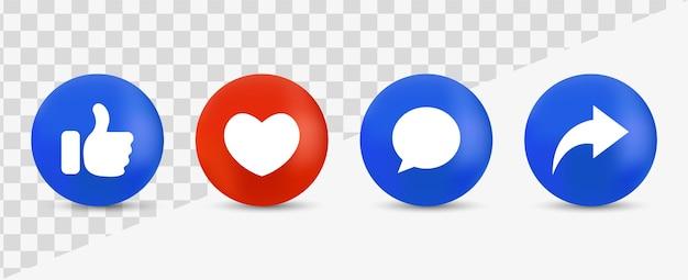 Ícones de notificação de mídia social, como botões de comentários amorosos