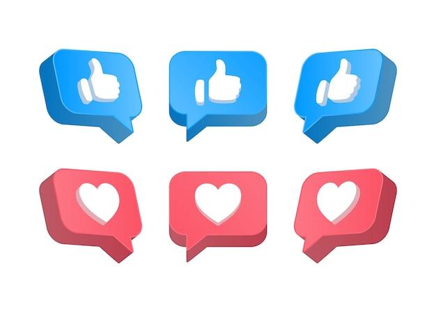 Ícones de notificação de mídia social em balões de fala 3d, como botões de amor para reações de metwork