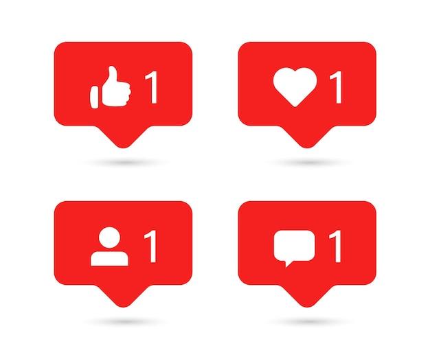 Ícones de notificação de mídia social em balões de fala, como o botão seguidor de comentários de amor