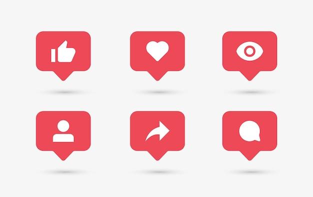 Ícones de notificação de mídia social em balões de fala, como o seguidor de comentários de amor e compartilhamento visto