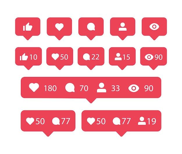 Ícones de notificação de mídia social em balões de fala instagarm, como seguidor de compartilhamento de comentários de amor visto